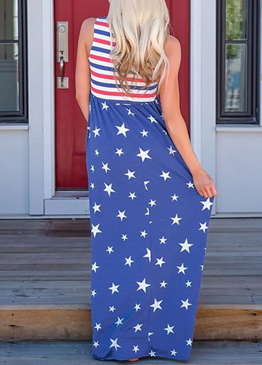 High waist Front Flag Print  Maxi Dress - fashionyanclothes
