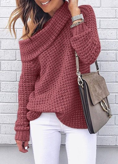 Skew Neck Long Sleeve knitted sweater
