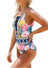 Mesh V Neck Tropical Backless Beach swimwear - fashionyanclothes
