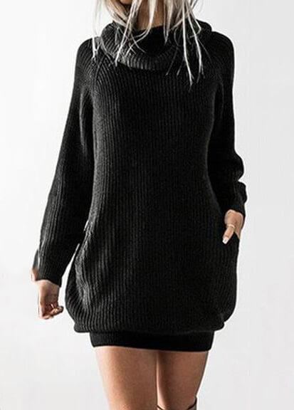 Loose Long Sleeve Turtleneck Dress - fashionyanclothes