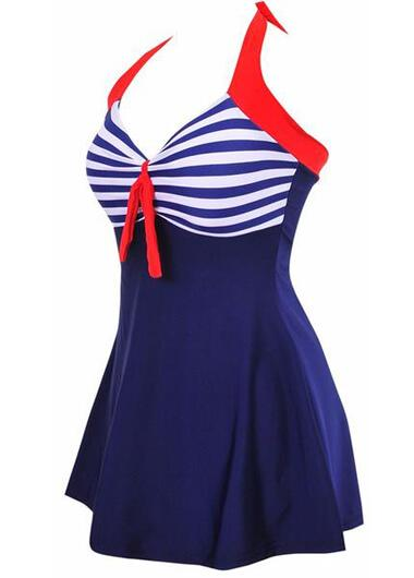 Sexy Stripe Padded Halter Skirt Swimwear - fashionyanclothes