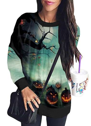 Halloween Print Round Neck Long Sleeve Sweatshirt - fashionyanclothes