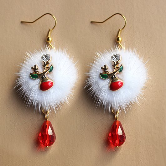 Santa Claus Fawn Velvet Ball Christmas Earrings
