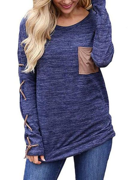 Large Size Cross Bandage Pocket  Blouses - fashionyanclothes