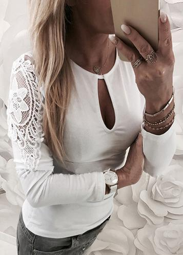 Whtie Lace Shirt Hollow Out Top