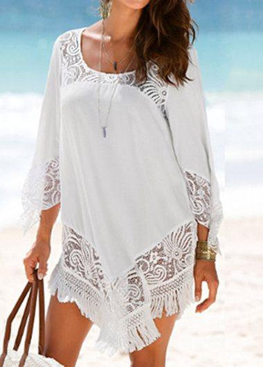Tassel Decoration Lace Cover Up - fashionyanclothes