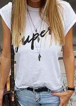 Super White Cotton Letter T Shirt - esshe