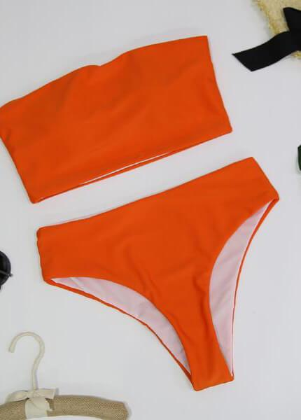 High Leg Bandeau bikini set - fashionyanclothes