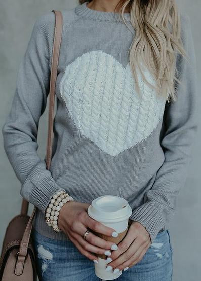 Heart Printed  Casual Long Sleeves Pullovers - fashionyanclothes