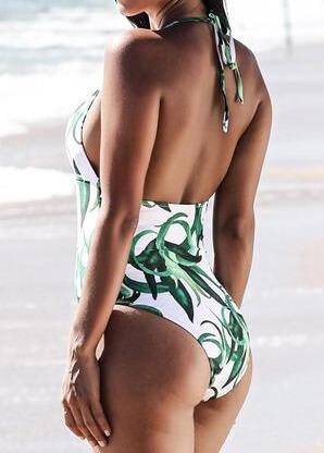 Tropical  Leaf Printed Open Back BathingSuits - esshe