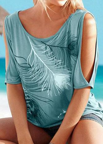 Feather Printed Off Shoulder T-Shirts - fashionyanclothes