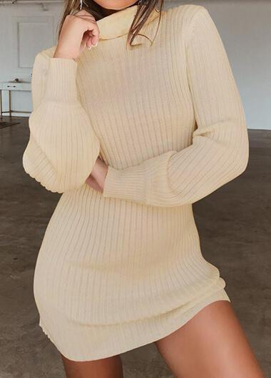 Sexy High Collar Long Sleeve Dress