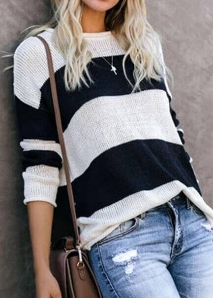 Round Neck Stripe  Knitted Sweater