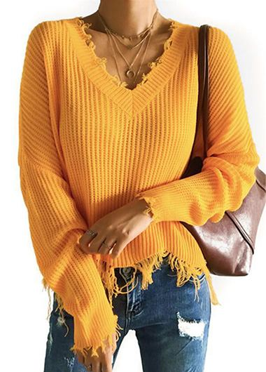 Frayed Hem Orange Crop Sweater - fashionyanclothes