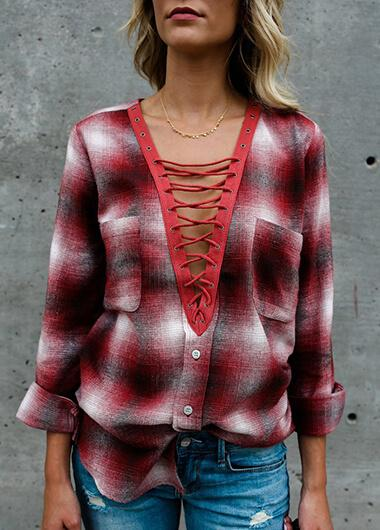 V-Neck Plaid Print Blouse