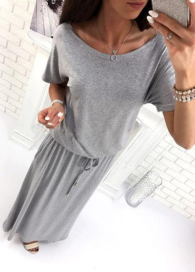 Drawstring Waist Scoop Neck Grey Maxi Dress - fashionyanclothes