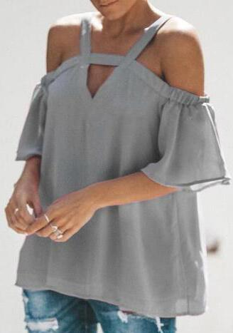 Sweet Chiffon Sling Off-Shoulder Ruffles Sleeve Top