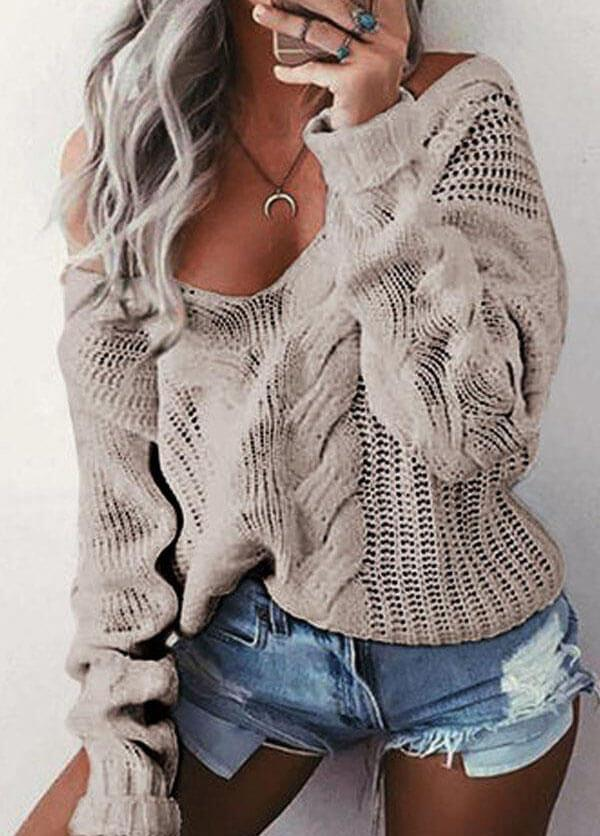 Sexy Deep V Off Shoulder Twist Knitted Sweater - esshe
