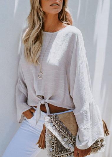 Lace Round Neck Long Sleeves Blouse - fashionyanclothes