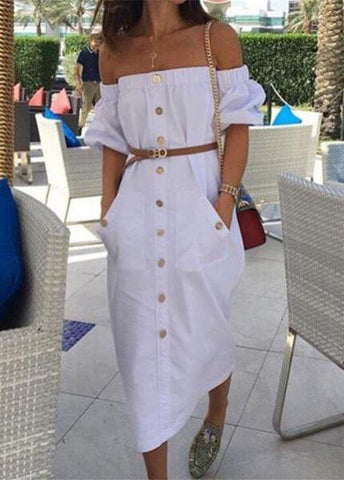 Summer Off Shoulder Strapless Dresses - esshe
