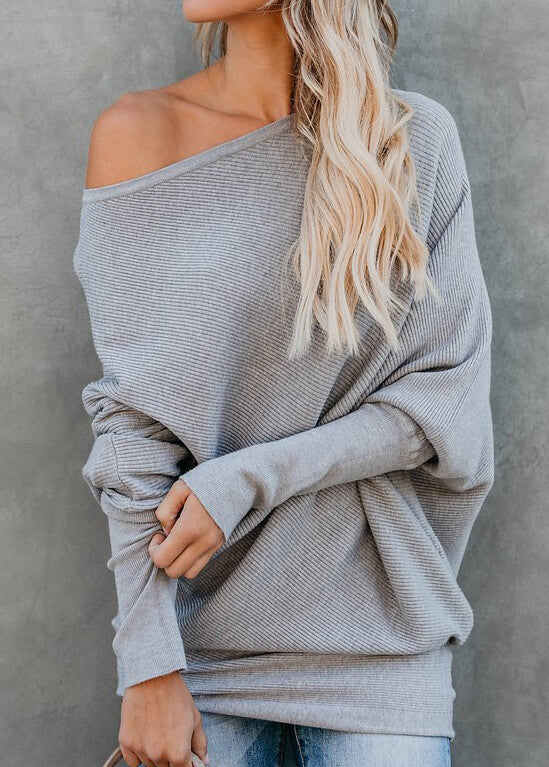 Long Sleeved One Shoulder Sweater