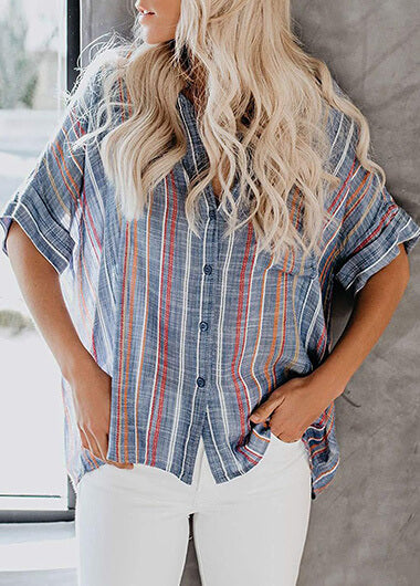 Striped Pocket Short Sleeve Shirt - fashionyanclothes
