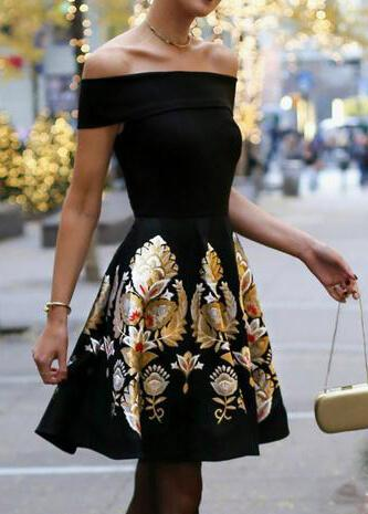 Slash Neck Off Shoulder Tunic Floral Print Dress