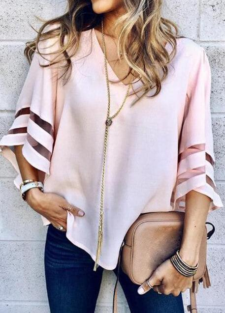 Loose V Neck Mesh Blouse - fashionyanclothes