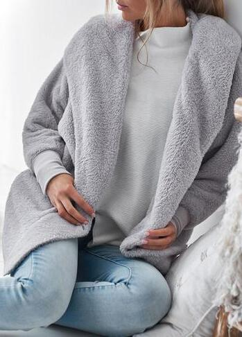 Warm Gray Plush Coat