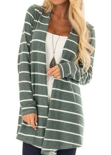 Knitted Striped Long Sleeve Cardigan - fashionyanclothes