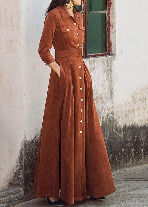 Three Quarter Sleeve High Waist Long Maxi Dress