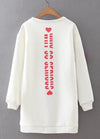 Heart Print Round Neck White Sweatshirt - fashionyanclothes