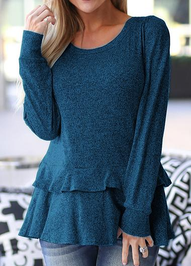 Long Sleeve Flounce Top - fashionyanclothes