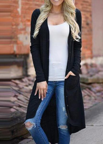V Neck Long Sleeve Cardigan