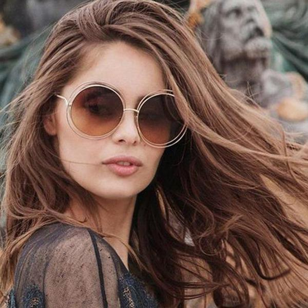 Gold Brown Round Retro Sunglasses - fashionyanclothes