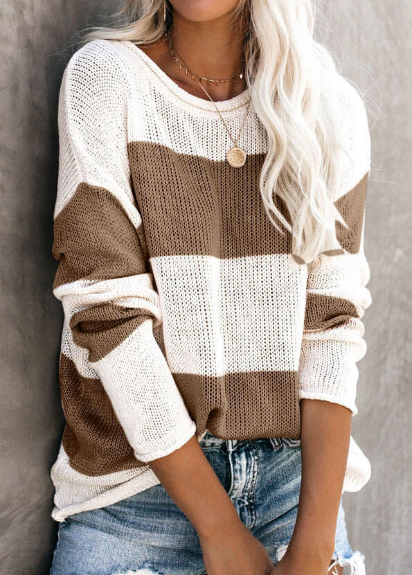 Round Neck Stripe  Knitted Sweater - fashionyanclothes