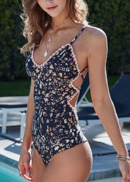 Sexy Flower Print  One Piece Swimsuit - fashionyanclothes