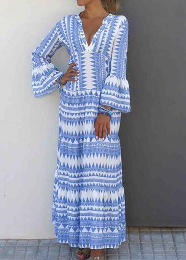 Long Sleeve Striped Print MaxiDress
