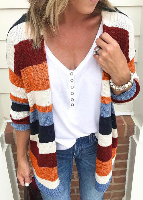 Fashionyan Colorful Striped Cardigan - fashionyanclothes