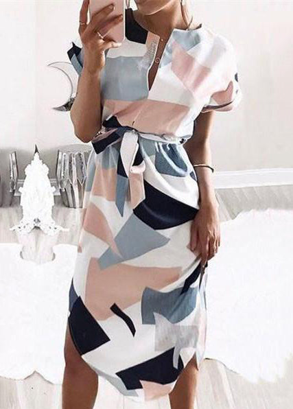 Short Sleeve Print  Straight Dress