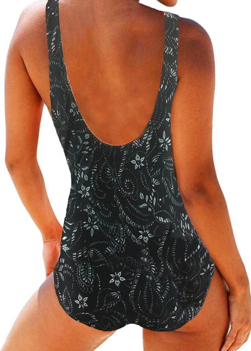 Cross Front Printed One Piece Swimsuit - fashionyanclothes