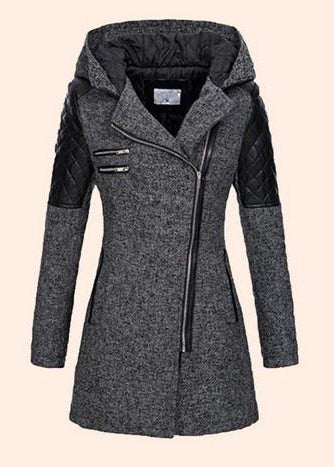 Warm Zipper With Cap Plus Size Coat