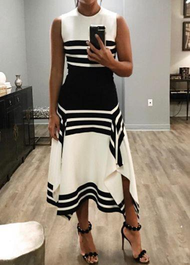 Asymmetric Sleeveless Striped Black Dress - fashionyanclothes