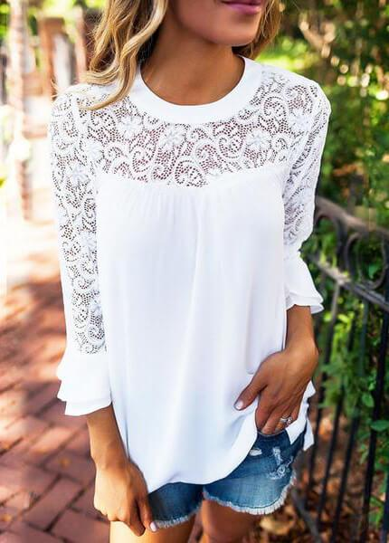 Hollow Out White Lace Blouse - fashionyanclothes