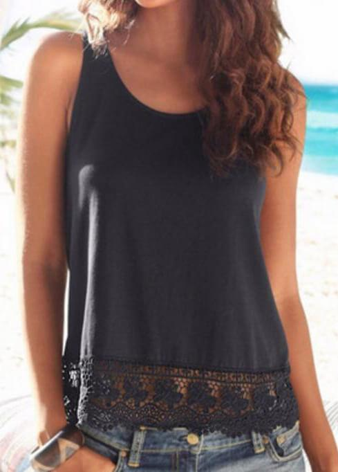 Plus Size Lace Sleeveless Elegant Tee - fashionyanclothes