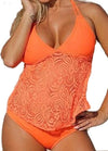 Mesh Lace Pattern Split Swimsuit - fashionyanclothes