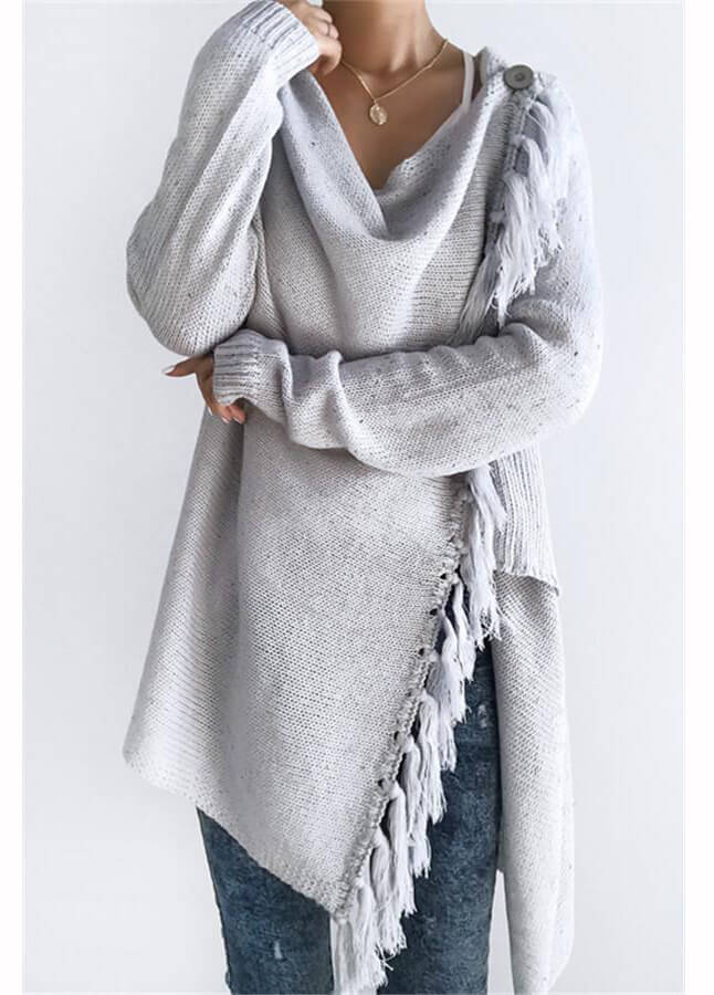 Grey Tassel Asymmetrical Hem Shawl Speckled Fringe Cardigan