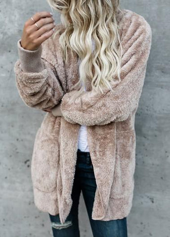 Fleece Faux Fur Thick Hooded Open Stitch Coat - esshe