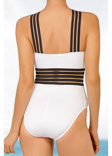 Mesh Panel Spaghetti Strap White Swimwear - fashionyanclothes