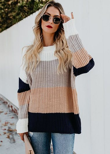 Striped Turtleneck Loose Sweater